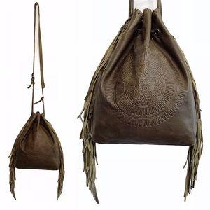 Patricia Nash Olive Green Fringe Cross Body Bag
